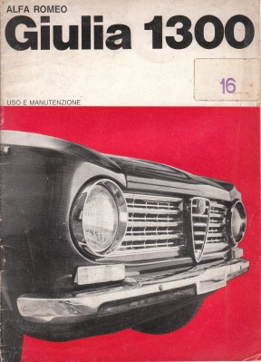 1964 Alfa Romeo Giulia 1300 Owners Manual