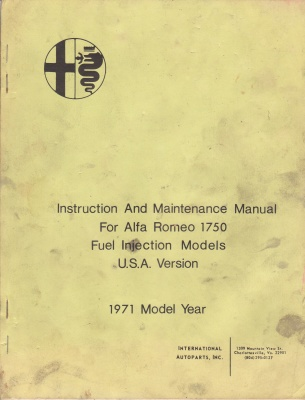 1971 Alfa Romeo 1750 FI USA models Maintenance Manual